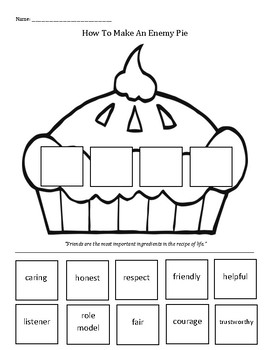 Enemy Pie ingredients friendship making friends recipe TpT