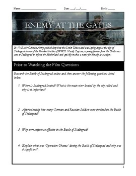 Enemy at the Gates Movie Questions + Answer Key!