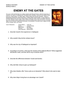 """Enemy at the Gates"" Movie Study Guide"