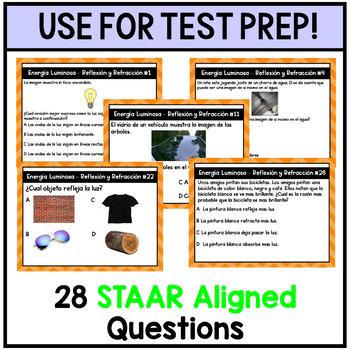 Energia Luminosa Refraccion y Reflexion Spanish Task Cards - TEKS 5.6C