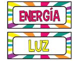 Energía: Tarjetas para clasificar (luz, calor, sonido)