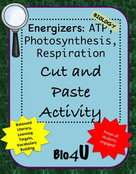 Energizers Cut and Paste Activity
