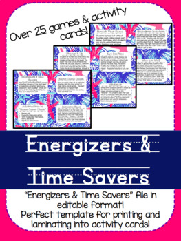 Energizers & Time Saver Activity Cards!