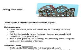 Energy 2/5/8 Differentiated Learning Menu