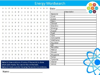Energy #2 Wordsearch Puzzle Sheet Keywords Homework Science Physics