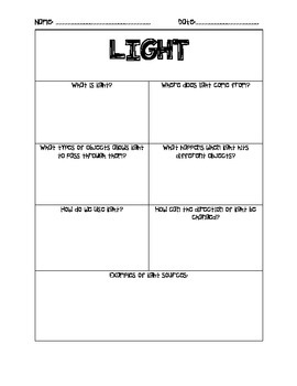 Energy: Heat, light, sound, electricity