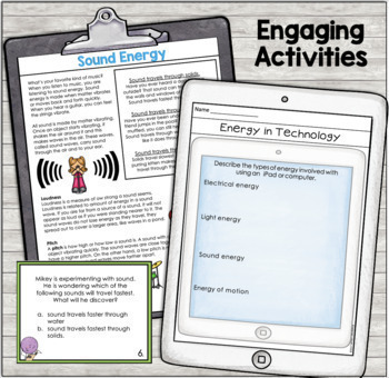 Forms of Energy Text, Task Cards, and Activities