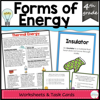 Forms of Energy Task Cards and Text