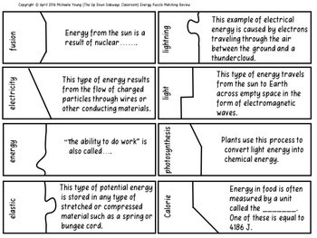 Energy Puzzle Matching Review Game
