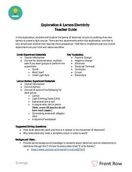 Energy Activity: Lemon Electricity