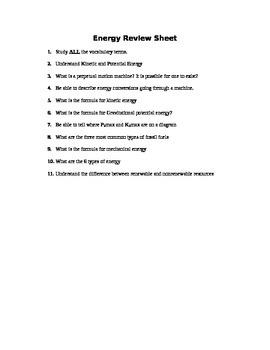 Energy - Assessment (Quiz)