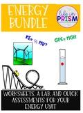 Energy Bundle: Lab, Worksheets, & Quick Assessments