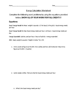 Energy Calculation Worksheet