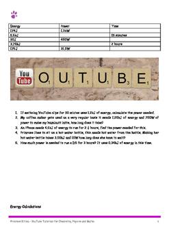 Energy Calulations. P=E/t 10 easy, 10 medium,10 hard. Including Answers