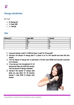 Energy Calulations. P=E/t 10 easy, 10 medium,10 hard. Incl