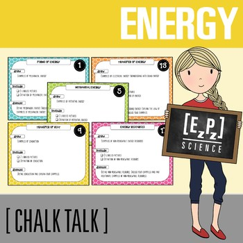 Energy Chalk Talk Task Cards