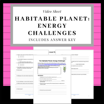 Energy Challenges The Habitable Planet Video Sheet
