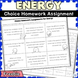 Energy FREE Choice Board Assignment