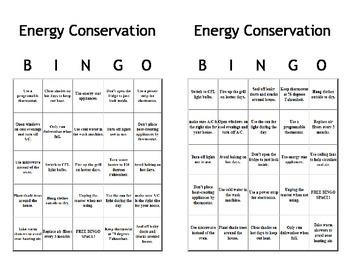 Energy Conservation Bingo