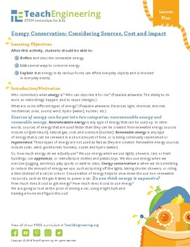 Energy Conservation: Considering Sources, Cost and Impact