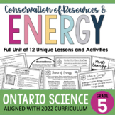 ONTARIO SCIENCE: Gr. 5 - Conservation of Energy Complete I