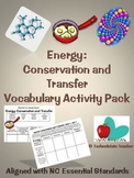Conservation and Transfer of Energy Vocabulary Activities
