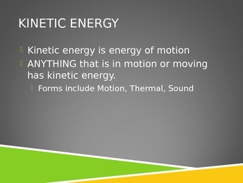 Energy (Conservation of energy) Powerpoint Presentation with note taking