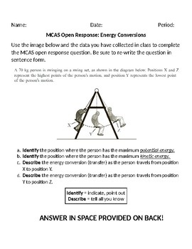 Energy Conversion Practice MCAS Open Response
