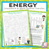 Energy Crossword Puzzle and Word Search Find Activities