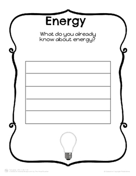 Energy: Cut, Paste and Draw Activities