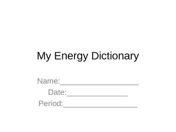 Energy Dictionary MODIFIED- Energy Vocabulary