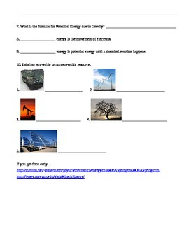 Energy - Different forms of Energy Webquest