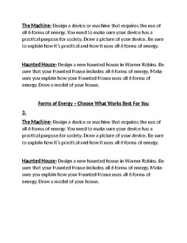 Energy Differientiation - Tiered Lesson