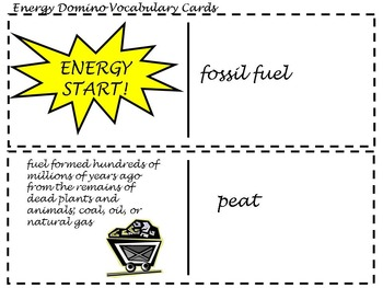Energy Domino Vocabulary Cards