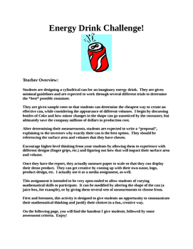 Energy Drink Challenge- Volume and Surface Area of a Cylinder