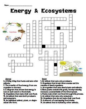 Energy & Ecosystems Crossword Puzzle