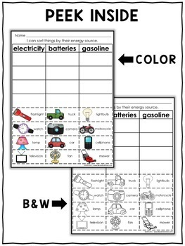 Interactive Sorting - Energy Activity