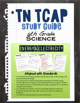 Energy & Electricity Study Guide for 6th Grade TN TCAP
