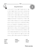 Energy / Energia Wordsearch English and Spanish