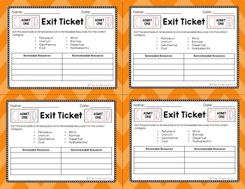 Energy Exit Tickets (Exit Slips)
