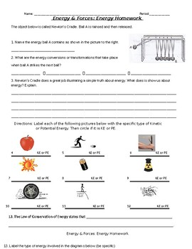 Energy, Forces, & Motion: Daily Homework 6th gr Science