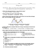 Energy, Forces, & Motion: Energy QUIZ 6th gr Science