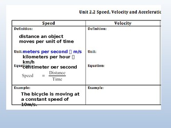 Energy, Forces, & Motion: Speed & Accel. PPT Notes 6th gr Science
