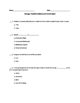 Energy Forms Exam