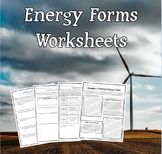 Energy Unit - Supplementary Materials (Worksheets/Handouts)