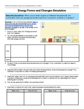 Energy Forms and Changes Simulation HS PS3-4 | TpT