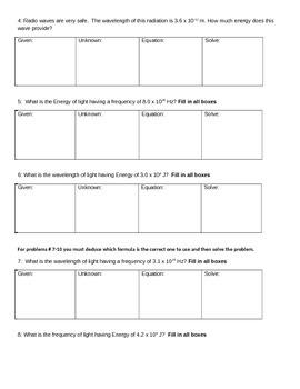 Energy Formula Practice Worksheet