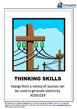 Electricity: Energy From Different Sources Can Be Used ACSSU219