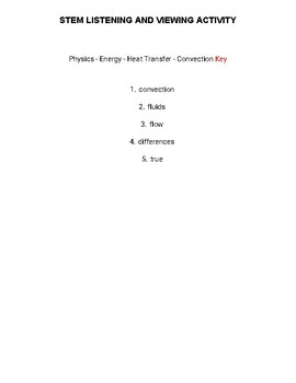 Energy - Heat Transfer - Convection : STEM Listening and Viewing Activity