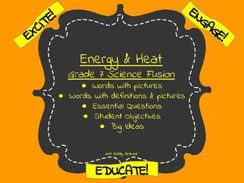 Energy & Heat-Vocabulary Cards-Science Fusion-Word Wall-Unit 6
